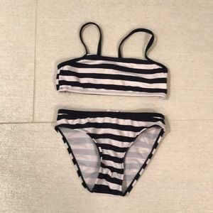 Other - Navy blue & white striped two piece bathing suit